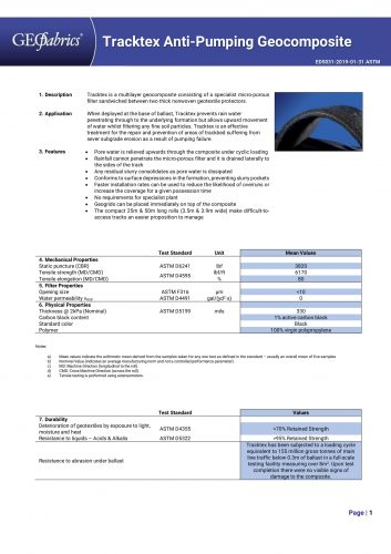 Tracktex Datasheet Page 1-1