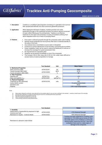 Tracktex Datasheet Page 1-1